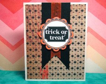 Trick or Treat Halloween Black Cream Orange Sparkle Card