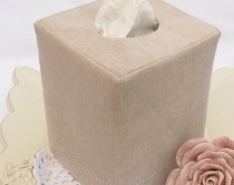 Hemstitch Natural Flax Linen reversible tissue box cover