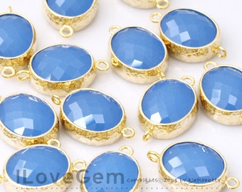 NP-1520 Gold plated, Ice Blue, Glass, Oval, Connector, 2pcs