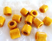 Greek Ceramic Bead Spacer Large Hole Tube Slider Yellow Mustard Mat Finish 10x12mm( Hole 5mm) - 8 pieces