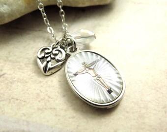 Religious Pendant Necklace, Cross Necklace, Gift Ideas, Jesus Neckace, Friendship Necklace