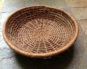 Vintage Hand Woven Pine Straw Coiled Basket