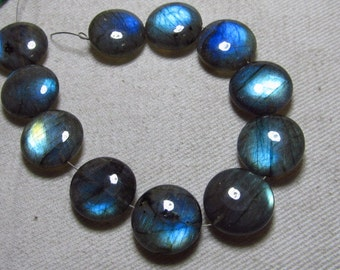 AAAA -  Awesome Amazing Gorgeous Blue Multy Fire - LABRADORITE - Smooth Polished Coin Shape Briolettes Huge size 14x14 mm - 11 pcs