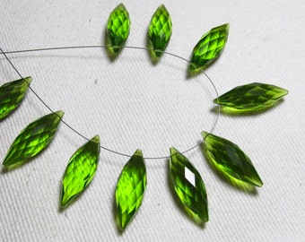 Brand New - 5 Matched Pairs - Peridot Green  Quartz - Faceted Dew Drops Briolettes amazing Gorgeous sparkle Huge Size 7x20 mm