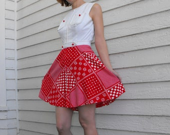 Vintage Red White Mini Dress Mod Western 60s 70s Country Sleeveless XS
