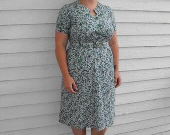 Vintage 50s Print Dress White Blue Green Cotton XL XXL Plus