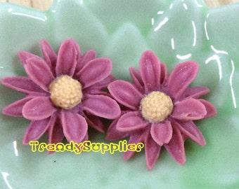 4 pcs Violet Sunflower Cabochons (035)