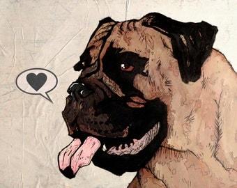 Mastiff - 8x10 Art Print - Love - Dog