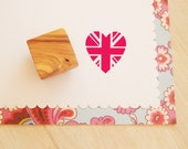 Union Jack Heart Olive Wood Stamp