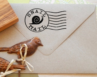 Large Snail Mail - Post Office Franking Stamp mounted on Olive Wood