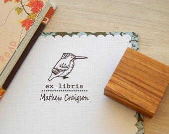 Custom Kingfisher Ex Libris Olive Wood Stamp