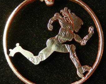 Roller Derby Skater Hand Cut Coin Jewelry