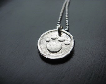 Fine Silver Dog's Paw Necklace