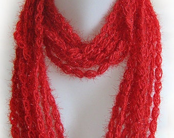 poppy red infinity scarf, circle scarf, chain scarf, handmade, crochet, lady gift, accessory, spring