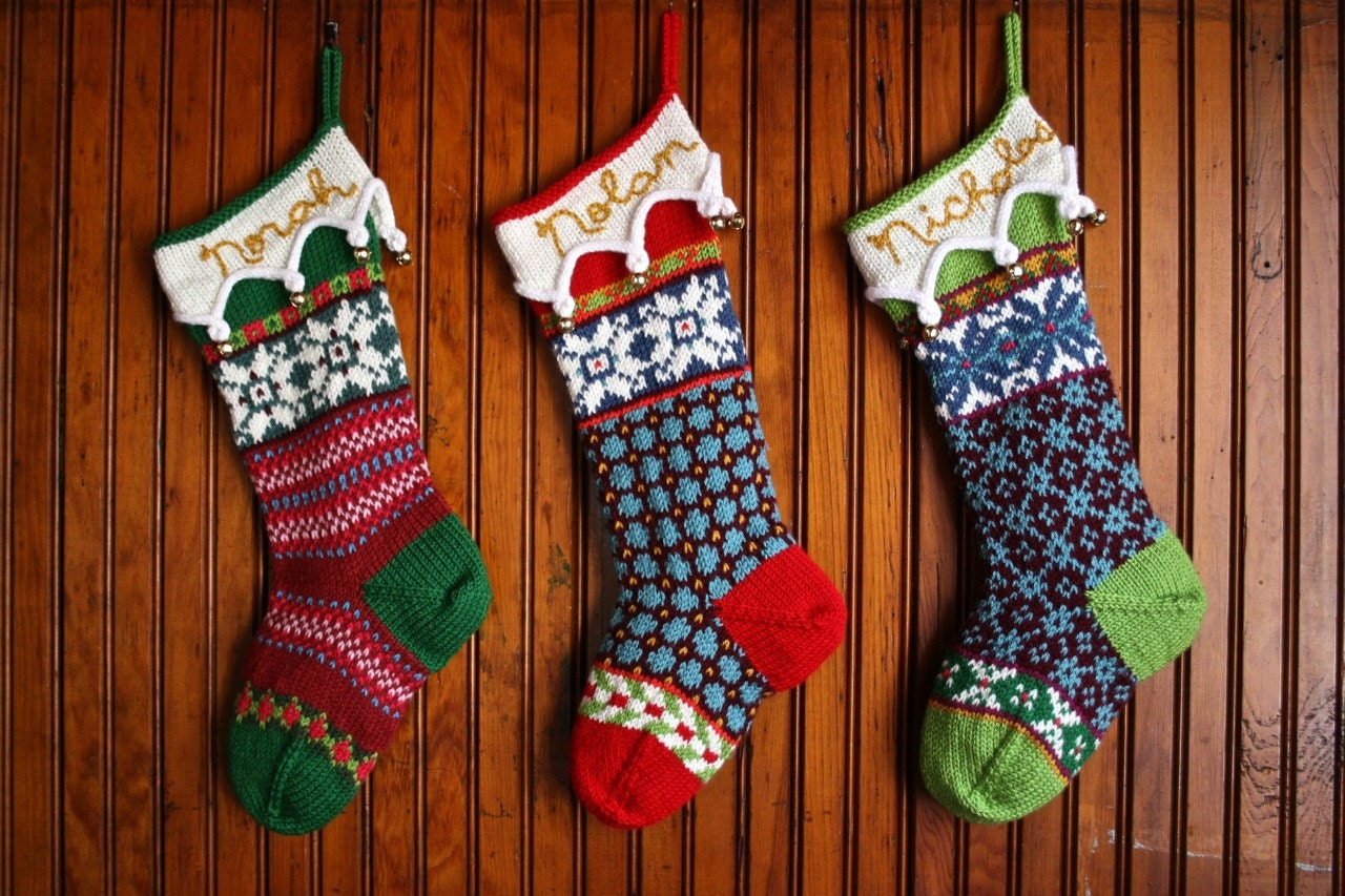 Personalized Hand Knit Fair Isle Christmas Stocking by cherylKNITS