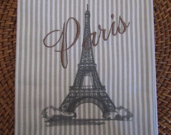 Tea Towel - Eiffel Tower with Paris Text - Whim - Earl Grey Stripe
