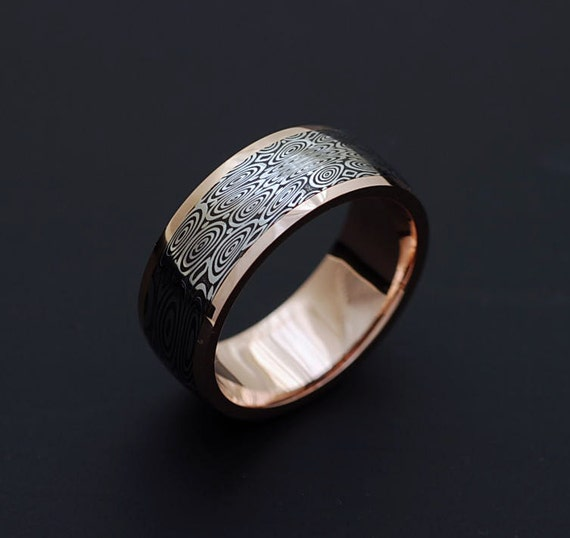 Non Metal Wedding Bands >> Genuine stainless Damascus Steel and Rose Gold Mens Ring PD76