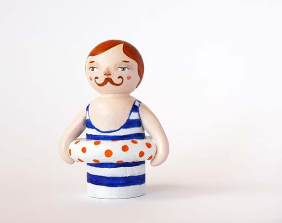 Old fashioned moustache man - Vintage bather - Peg doll
