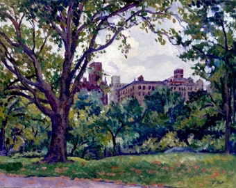 From Central Park, Upper West Side NYC. Realist Oil Painting, 11x14 Framed Oil on Panel, Impressionist Plein Air Fine Art, Signed Original