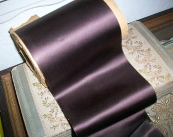"""1 yd. of Chocolate brown french vintage satin faille back rayon ribbon 5"""" wide"""