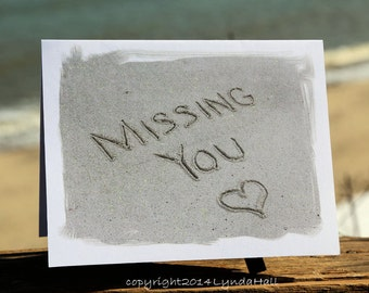 Missing You Cards- Beach Theme set of 3, romantic beach cards, beach word sentiment, coastal art card, beach card, miss you card from beach