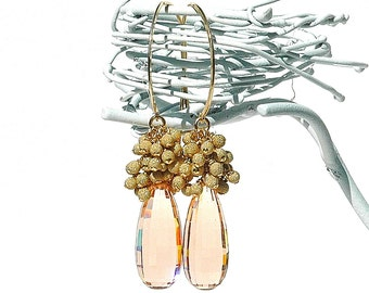 Peach Morganite Step-Faceted Dangle Earrings / Rare Gemstone / Teardrops / 14K Gold / Fine Jewelry / Gifts For Her / OOAK