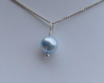 Single Bridesmaid Swarovski Pearl 8mm Drop Necklace, Pearl Necklace, Simple Pearl Necklace, Bridal Wedding Necklace,Sterling Silver Necklace