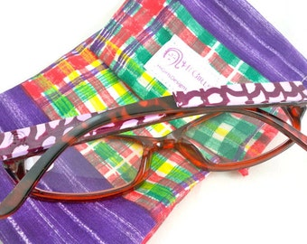 Readers glasses with purple embellishments