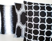 Black White Pillow Covers, Decorative Throw Pillows, Cushion Covers, Fargo Linked Jiri, Couch Bed Sofa Pillows, Combo Set of Three 18 x 18