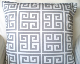 Gray Greek Key Pillow Covers, Cushions, Throw Pillows, Grey White Greek Key Towers, Couch Bed Sofa Pillows, Grey Cushions, ALL SIZES