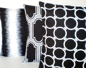 Black White Pillow Covers, Decorative Throw Pillows, Cushion Covers, Fargo Linked Jiri, Couch Bed Sofa Pillows, Set of Three Various Sizes