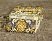 Set of  6 Bridesmaids Clutches, Yellow and Gray Custom Made Clutches, Yellow and Grey Bridesmaids Gifts,  Yellow/Gray Bags