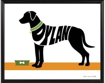 Personalized Rhodesian Ridgeback Silhouette Print, Framed 8x10 Dog Name Art Print, Dog Memorial Gift