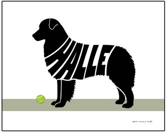Personalized Australian Shepherd Art Print, Custom Aussie Silhouette Wall Art, Dog Decor Name Art