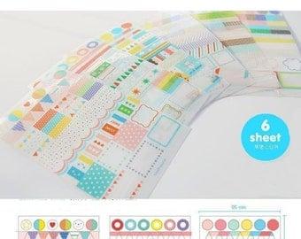 Rainbow diary agenda stickers - 6 sheets