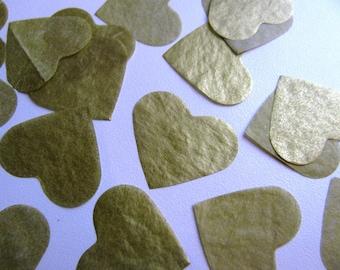 1,000 Metalic Gold Tissue Paper heart confetti