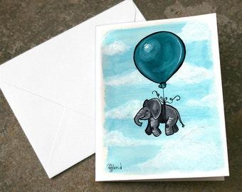 Flying Baby Elephant Teal Balloon Art Illustration Print Blank Card 4.25 x 5.5 inches