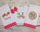 Monogrammed Hot Pink and Green Caterpillar Bib and Burp Cloth Set for Baby Girl - Shower Gift