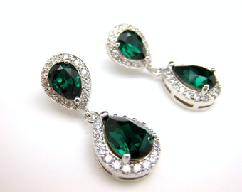 wedding jewelry bridal earrings earrings party prom pageant gift bridesmaid teardrop AAA cubic zirconia emerald green crystal teardrop post