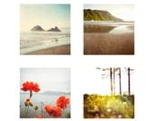 Petite Magnet Set of 4 Ocean Theme Metallic Mini Photographs