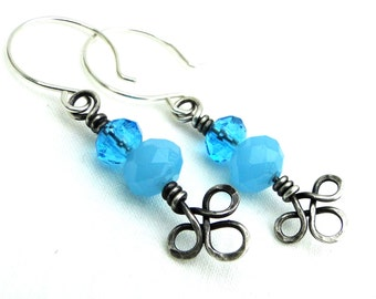 Ice Blue and Sterling Silver, Handcrafted Jewelry, Celtic Knot Earrings, Faceted Rondelle Beads, Wire Wrapped Earrings