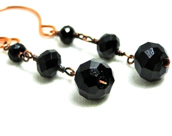 Antiqued Copper Earrings, Handcrafted, Dangle Earrings, Wire Wrapped, Faceted Black Glass Beads