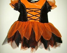 Vintage Childs Halloween Dress Costume Tulle Tutu Satin Velvet Orange and Black Costume