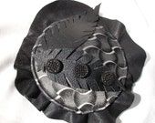 Black Fascinator with Black Leather and Vintage Glass Buttons
