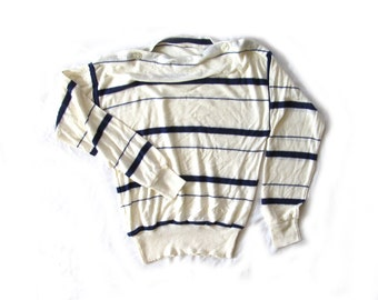 vintage sweater 70s nautical boatneck navy blue ivory striped 1970s womens clothing size large l
