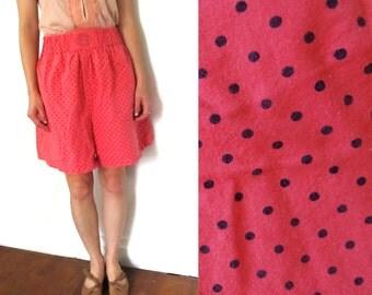 SALE vintage shorts 80s coral orange polka dot high waisted 1980s womens clothing size medium m