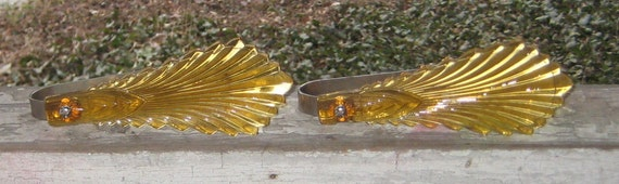 Sweet French Shabby Chic Amber Glass Pair 1930s 1940s Curtain Tie Back Holder Hooks