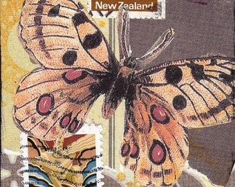 Original mixed media ACEO - Brown butterfly