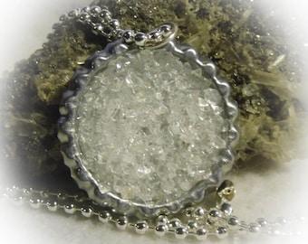 Quartz Crystal Stone Bottle Cap Pendant 20 inch Necklace