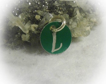 Letter L Hand Engraved Green Personalized Small  Charm 1/2 inch